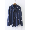 New Stylish Tied Lapel Single Breasted Long Sleeve Bird Printed Button Down Shirt
