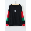 Color Block Striped Long Sleeve Embroidery Cat Face Pattern Pullover Sweatshirt