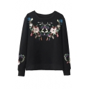 Symmetric Embroidery Floral Pattern Round Neck Pullover Sweatshirt