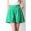 Chic Single Button Wide Leg Plain High Waist Shorts