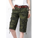 Women's Active Loose Fit Camouflage Ribstop Twill Bermuda Cargo Short Pants