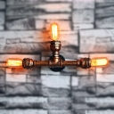 Restoration Iron Pipe Designed 3-Light Indoor Hallway Wall Sconce of Industrial Style