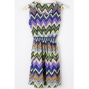 Women's Round Neck Sleeveless Colorful Wave Print Tank Mini Dress