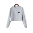 Fashion Alien Printed Round Neck Long Sleeve Crop Pullover Sweatshirt