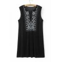 Women's V-Neck Sleeveless Embroidered Velvet Casual Shift Mini Dress
