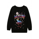 Women's Round Neck Long Sleeve Oversize Cartoon Print Casual Sweatshirt