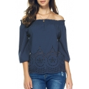 Women's Fashion Boat Neck Cold Shoulder 3/4 Sleeve Chiffon Casual Blouse