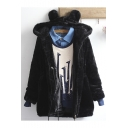 Women's Lovely Cartoon Hooded Zip Placket Long Sleeve Winter's Fur Coat
