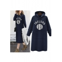 New Fashion Hooded Contrast Letter Printed Long Sleeve Midi Sweatshirt Dress