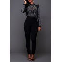 Women's Long Sleeve Sheer Rhinestone Bodycon Clubwear Jumpsuit Romper