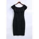 Sexy Ruffle Front Short Sleeve Zip-Back Split Hem Mini Bodycon Dress
