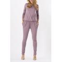 Women's Long Sleeve Elastic Waist Plain Jumpsuits