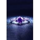 Chic Elegant Purple Zircon Embellished Ring
