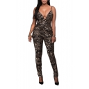 Women's Sexy Spaghetti Straps V-Neck Sleeveless Sequined Jumpsuits