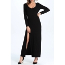 Sexy Round Neck Split Side Long Sleeve Plain Maxi Party Dress