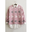 Peppy Style Arrow Pattern High Low Hem Long Sleeve Color Block Sweater