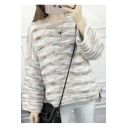 New Retro Style Dropped Long Sleeve High Low Hem Color Block Sweater