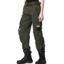 Leisure Women's Military Style Outdoor Plain Straight Pants with Pockets