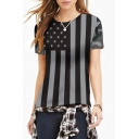Women's Fashion Flag Print Round Neck Short Sleeve Basic T-Shirt