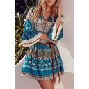 Women's Fashion Lace-Up Front V-Neck Flare Sleeve Boho Style Tribal Print Mini Dress
