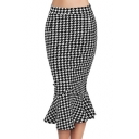 Women's Fashion Houndstooth Print Fishtail Hem Midi Pencil Skirt