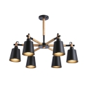 Contemporary Metal Shade 6-Light Wood Arm Chandelier Industrial Black Foyer Ceiling Fixture