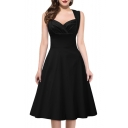 Women's Cut Out V-Neck Vintage Casual Retro Dress
