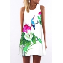 Women's Round Neck Sleeveless Floral Print Casual Loose Tank Dress
