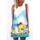 Women's Windmill Chalet Painting Print Sleevess Round Neck Mini Shift Dress