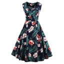 Chic Retro Style Floral Printed Sleeveless Color Block Midi A-Line Dress