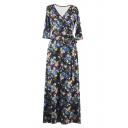Fashion V-Neck Wrap Front Long Sleeve Floral Printed Tied Waist Maxi Dress