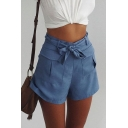 Women's Plain Fashion Belt Waist Wide Leg Shorts with Two Pockets