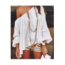 Women's Boat Neck Cold Shoulder Long Sleeve Lace Patched Chiffon Blouse
