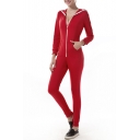 Women's  Casual Bodycon Zip Up Hooded Jumpsuits Romper