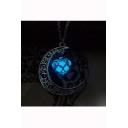 Chic Moon Shape Lantern Luminous Pendant Necklace