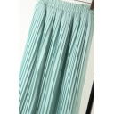 Fashion Casual Elastic Waist Plain Chiffon Beach Pleated Skirt