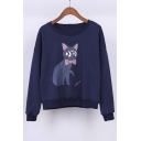 Lovely Cartoon Cat Printed Round Neck Pullover Sweatshirt