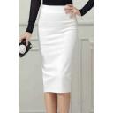 Office Lady High Rise Plain Slit Back Wrap Pencil Midi Skirt