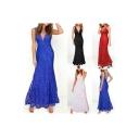 Chic Elegant V-Neck Spaghetti Straps Plain Maxi A-Line Dress