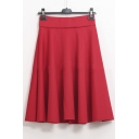 Women's High Waist Basic Plain Pleated A-Line Midi Skirt