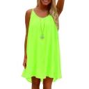Women's Casual Plain Open Back Loose Slip Dress
