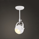 Simple Design Single Light White Rotatable Semi Flush Spotlight with Globe Shade