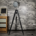 Contemporary Style 1 Light Black Tripod Floor Lamp with Chrome Shade