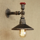 Retro Loft Valve Accent Saucer Shade Iron Pipe Wall Sconce in 9.84 Inches High