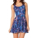 Summer Pleated Print Owl Reversible Skater Dress