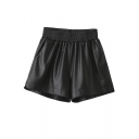 Women's Elastic Waist Fashion Wide Leg Plain PU Shorts