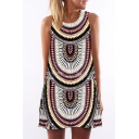 Women's Round Neck Sleeveless Digital Print Shirts Tank Top Mini Dress