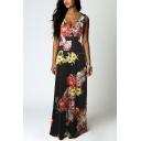 Women Summer Boho Floral Long Casual Party Maxi Dress
