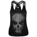 New Trendy Multi Straps Crisscross Back Digital Skull Print Tank Top