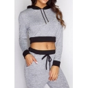 Women's Color Block Crop Long Sleeve Hoodie Sports Pants Casual Co-ords